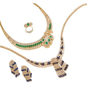 Our Set with diamonds in Emerald or Sapphires